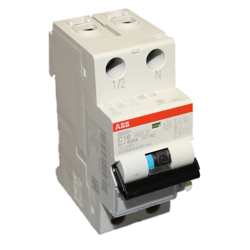 Дифавтомат ABB DS201 C16 AC30 2-полюсный характеристика C 16A 30mA тип АС 2CSR255040R1164
