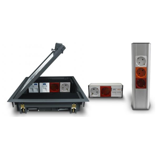 Электрооборудование для офисов (кабель-каналы, люки, колонны, розетки 45х45)