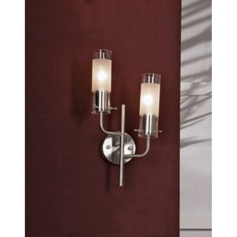 Светильник Lussole Leinell матовый никель/белое стекло 2x40W E14